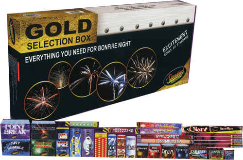 Gold Selection Box by Standard Fireworks | Niteforce Fireworks
